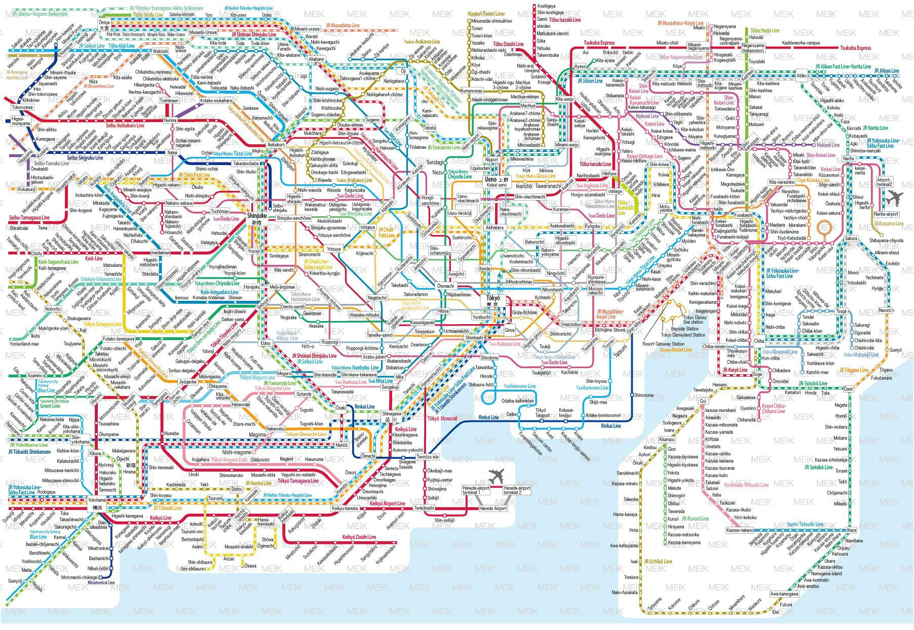 Subway Map For All Of Tokyo English.East And West Jimcofer Com