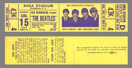 Beatles tix 1965 Shea